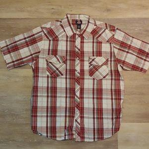 NWT Dickies Men's Plaid Western Button Down Shirt